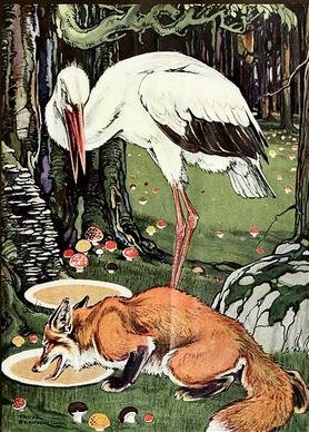 Etude d 39 une fable de la fontaine education num rique - Le renard et la cigogne dessin ...