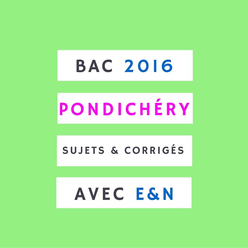 Bac Pondichéry 2016